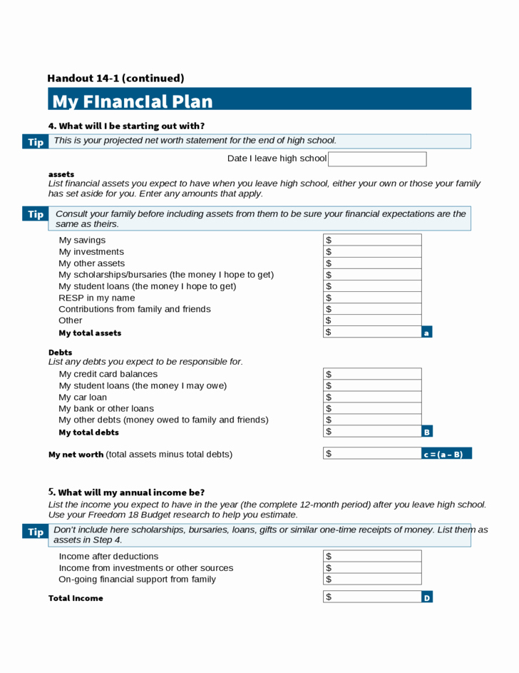 Personal Finance Plan Template Unique Personal Financial Plan Calculator Free Download