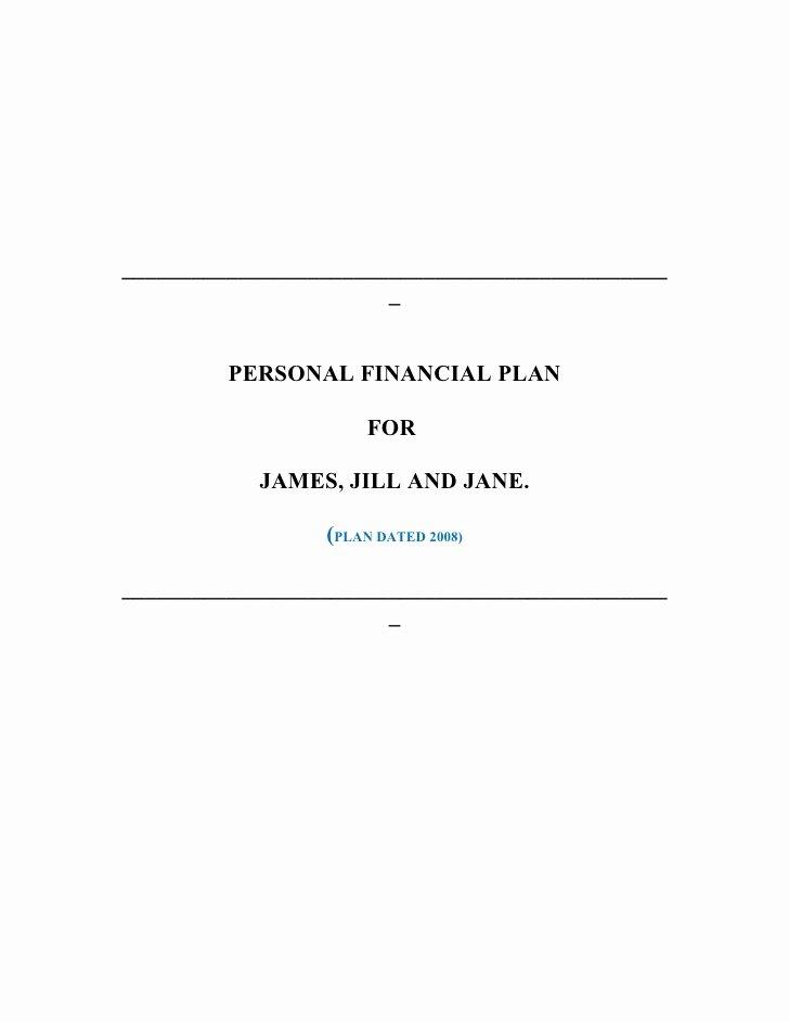 Personal Financial Plan Template New Sample Financial Plan for James & Jill