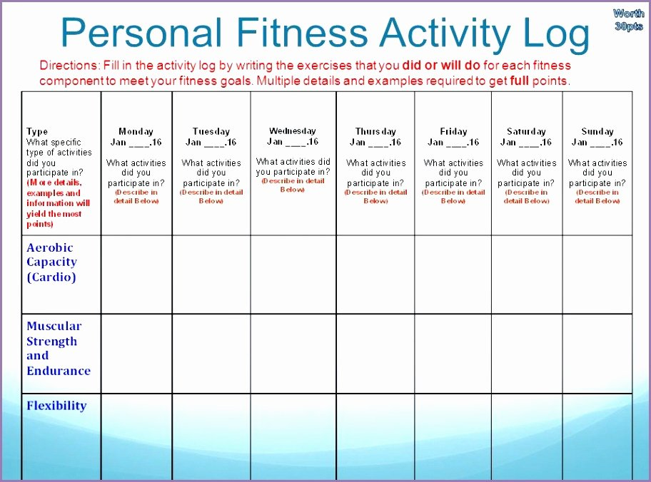 Personal Fitness Plan Template Awesome Personal Fitness Plan Activity Log Answers Archives Work