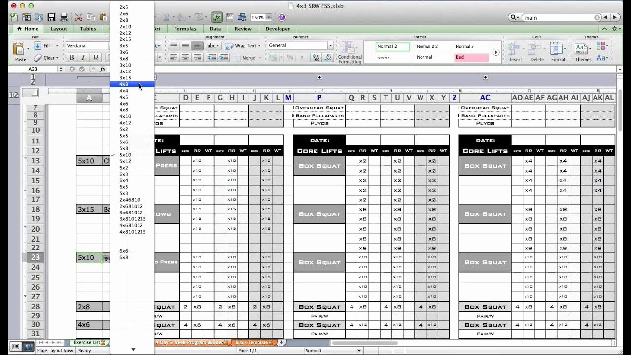 Personal Fitness Plan Template Awesome Pt Fitness Excel Workout Template From Excel Training