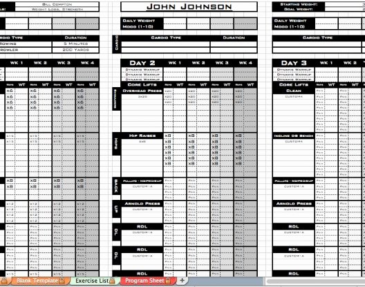 Personal Fitness Plan Template Beautiful Excel Training Designs Fast Easy Affordable