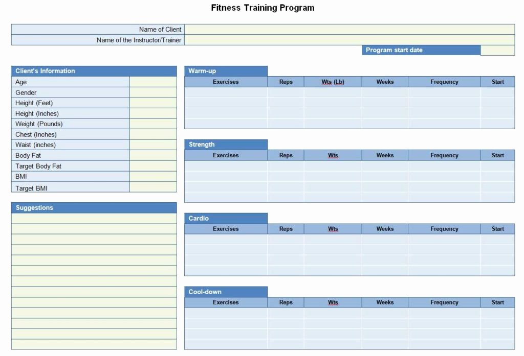 Personal Fitness Plan Template Elegant Fitness Training Program Sheet