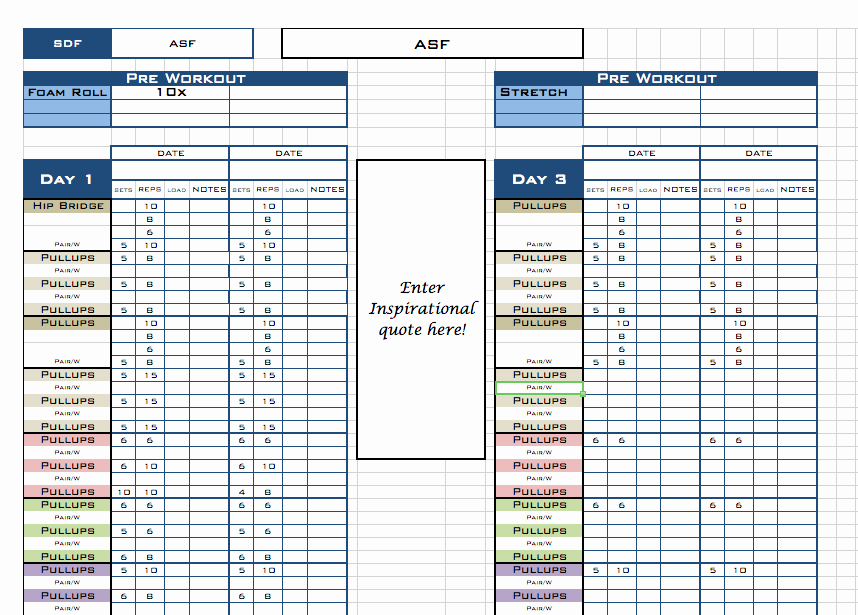 Personal Fitness Plan Template New Pick Your Pt Template Excel Training Designs