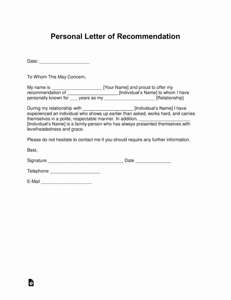 Personal Letter Of Recommendation Templates Elegant Free Personal Letter Of Re Mendation Template for A