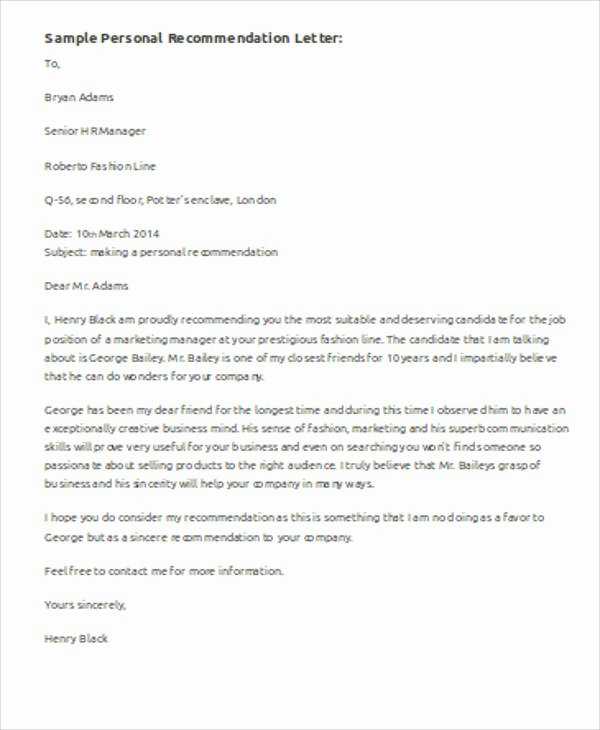 Personal Letter Of Recommendation Templates Lovely Sample Personal Re Mendation Letter 6 Examples In