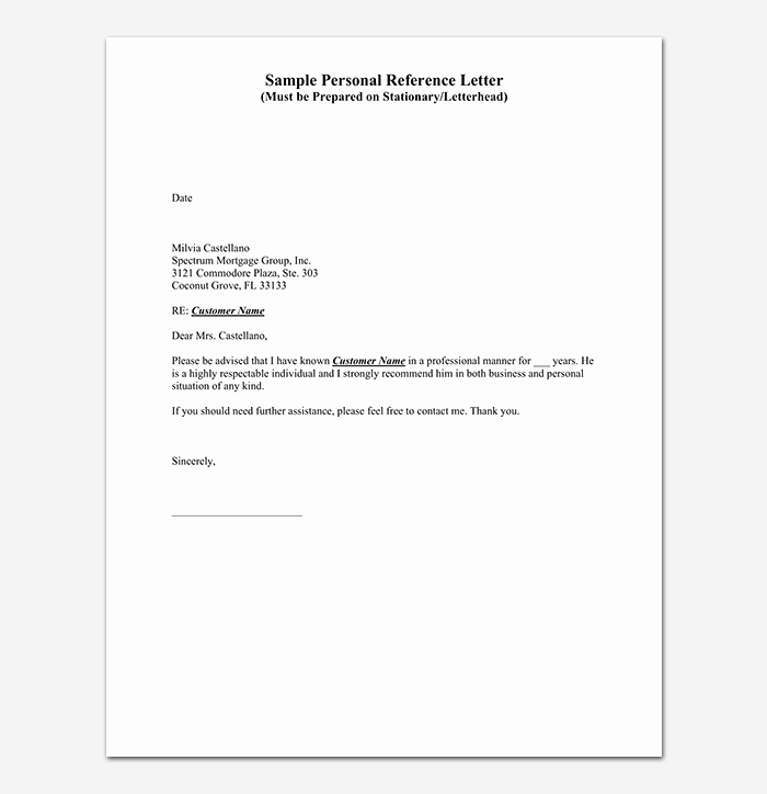 Personal Letters Of Recommendation Templates Elegant Reference Letter Template 28 Examples & Samples