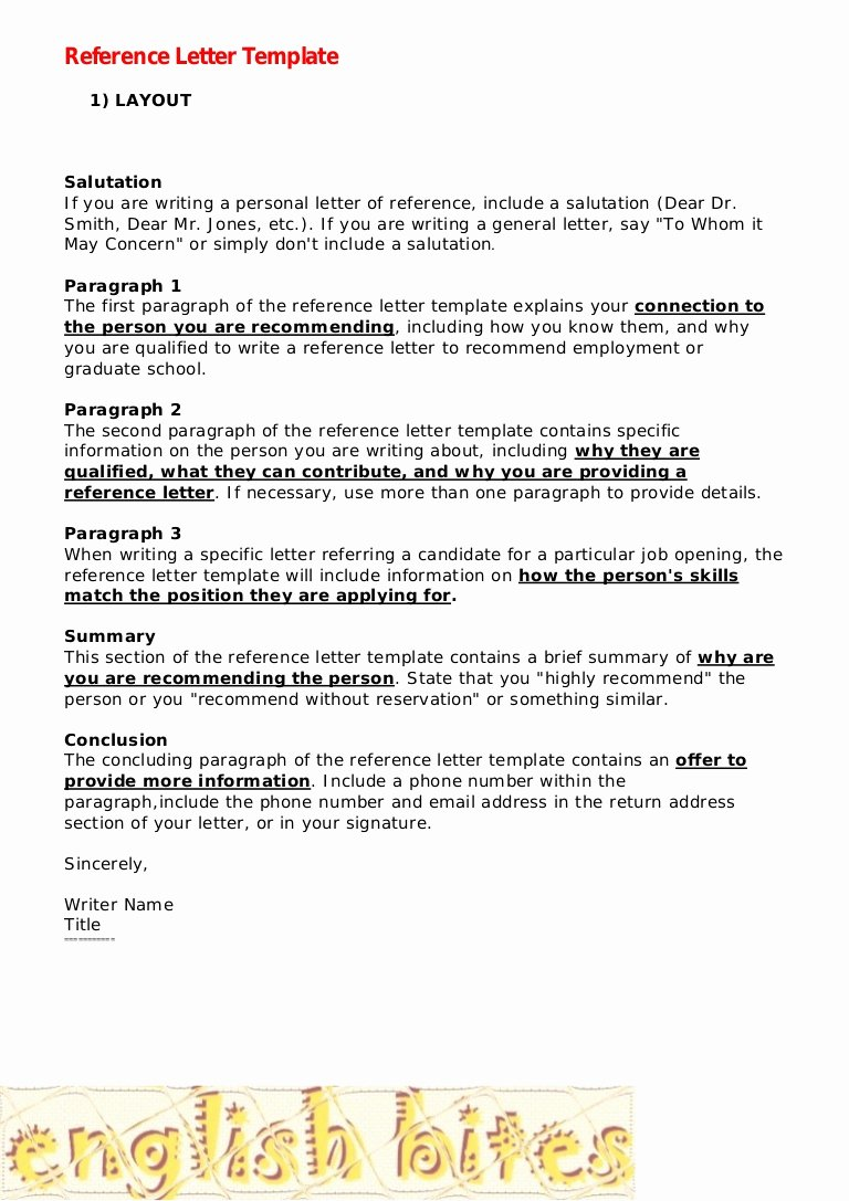Personal Letters Of Recommendation Templates New Reference Letter Template