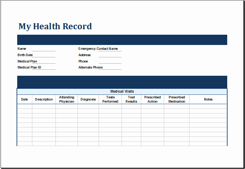 Personal Medical History Template Best Of Ms Excel Personal Medical Health Record Template