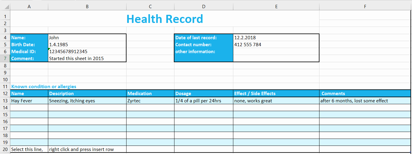 template health record tracking excel