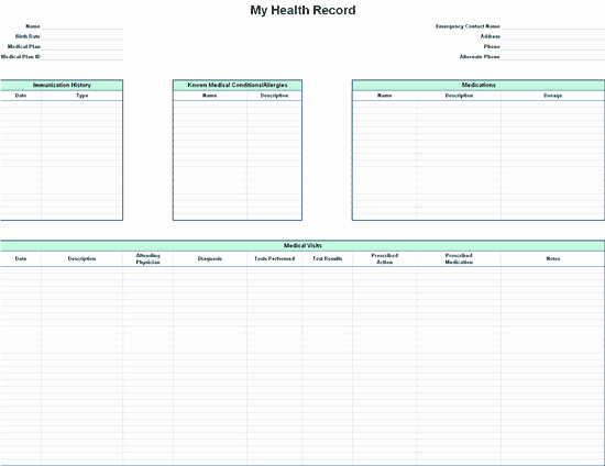 Personal Medical History Template Elegant Personal Health Record for Microsoft Personal Access