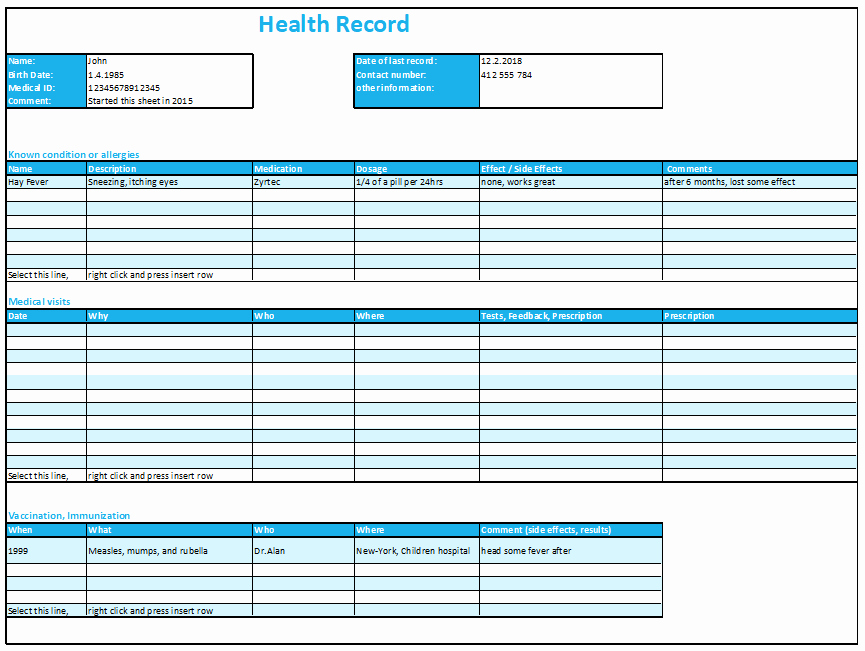 Personal Medical History Template New Excel Health Record Tracking Log Template by Excelmadeeasy