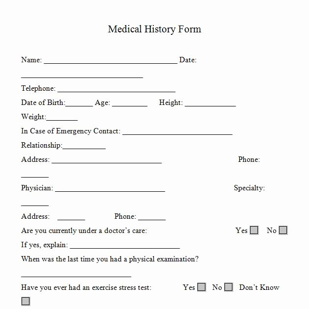 Personal Medical History Template Unique Medical History forms