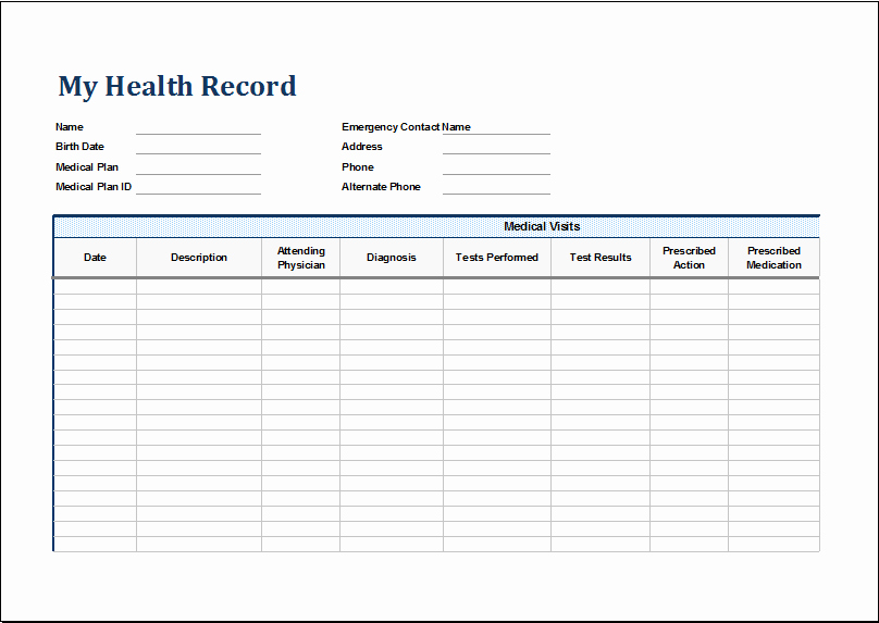 Personal Medical History Template Unique Personal Medical Health Record Sheet