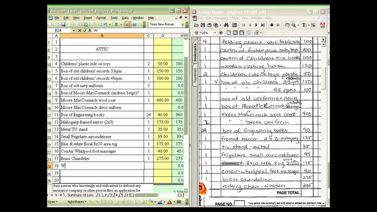 Personal Property Inventory Template Awesome Personal Property Inventory Contents Claims
