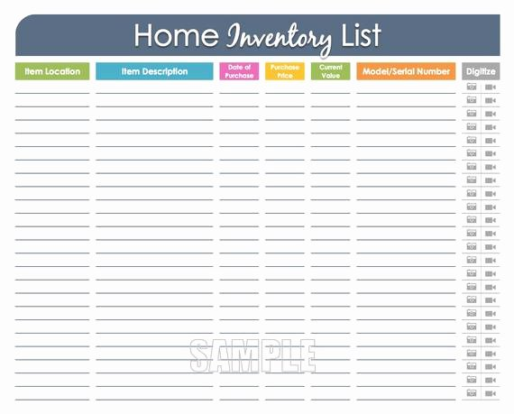 Personal Property Inventory Template Elegant Home Inventory organizing Printable Editable Household