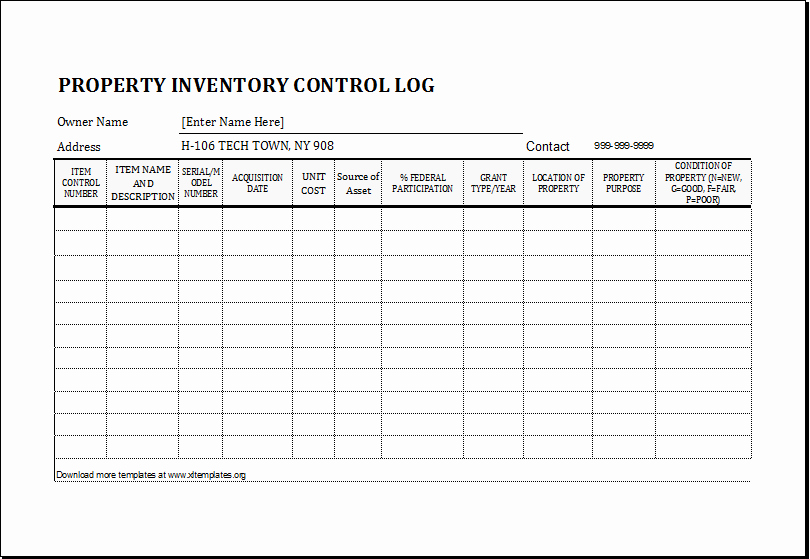 Personal Property Inventory Template Elegant Property Inventory Log Template for Excel