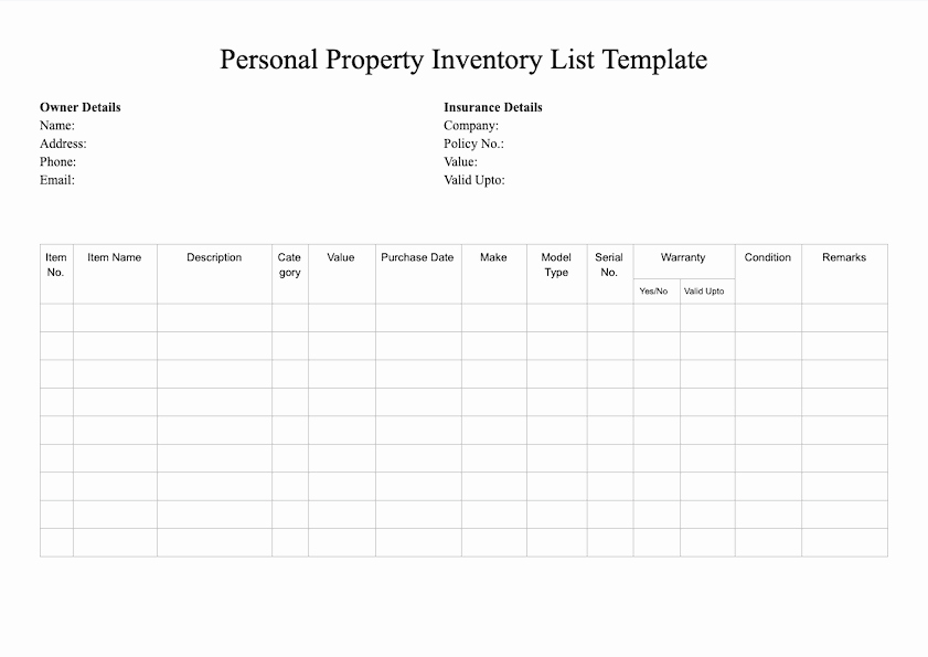 Personal Property Inventory Template Lovely Free Inventory Template
