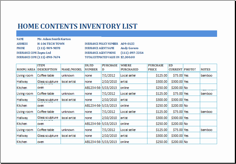 Personal Property Inventory Template Unique Excel Home Contents Inventory List Template