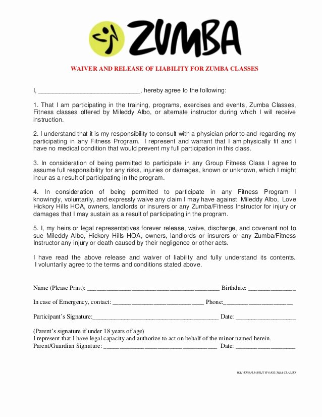 Personal Property Release form Template Awesome Free Printable Release and Waiver Liability Agreement