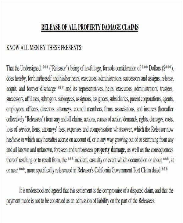 Personal Property Release form Template Awesome Property Damage Release form