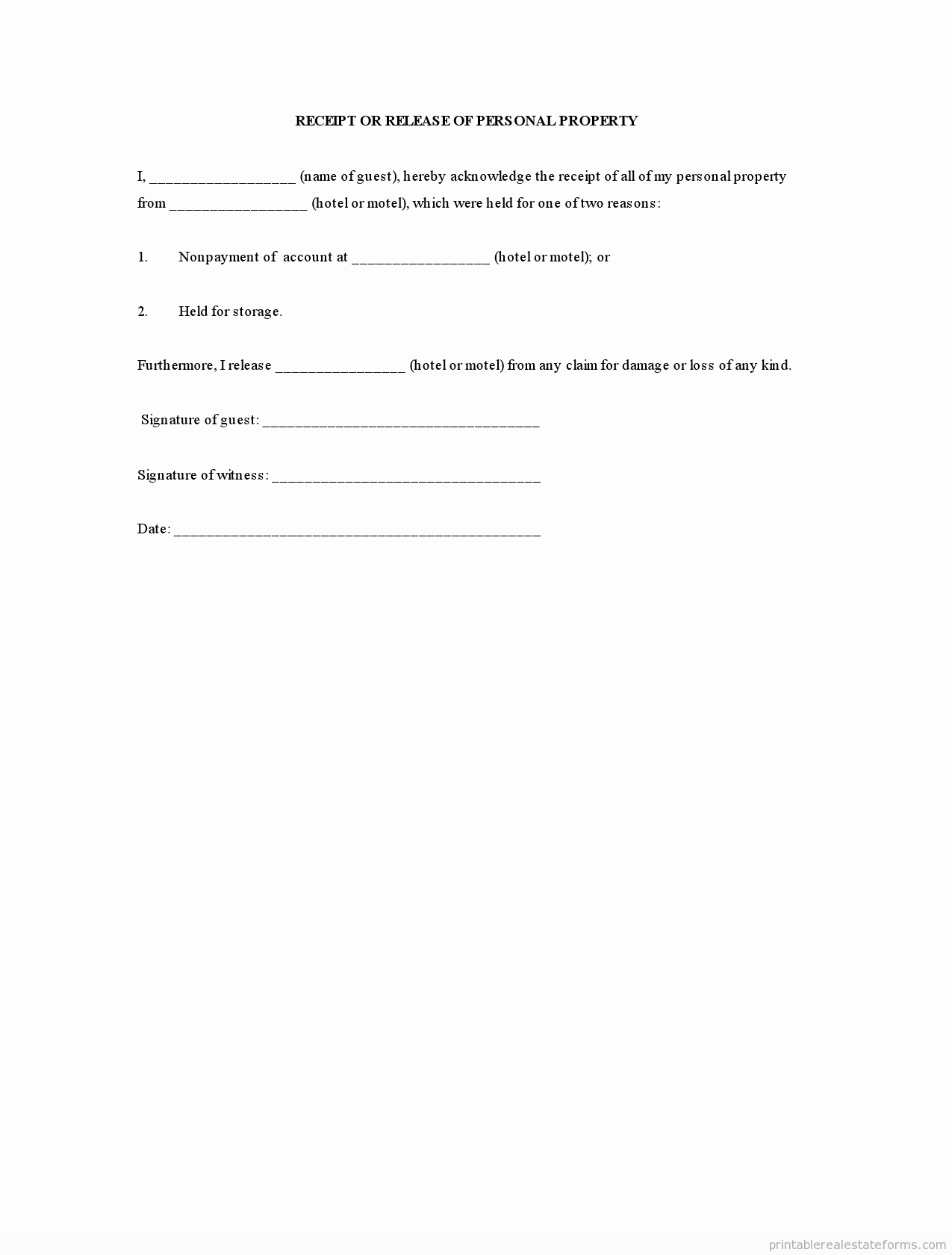 Personal Property Release form Template Fresh Free Personal Property Release form Sample Letter Pdf