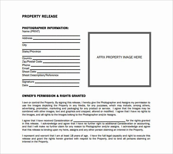 Personal Property Release form Template Fresh Sample Property Release form 14 Download Free Documents