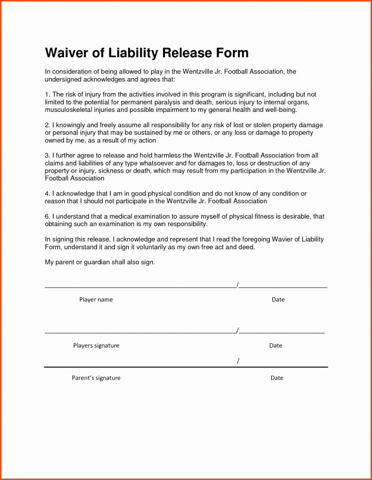Personal Property Release form Template Lovely Contractor Liability Waiver form