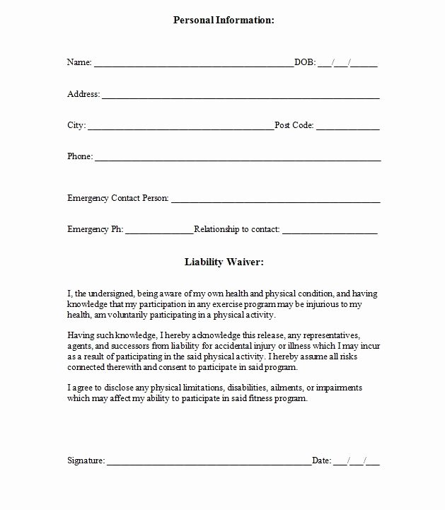 Personal Property Release form Template Luxury Printable Sample Release and Waiver Liability Agreement