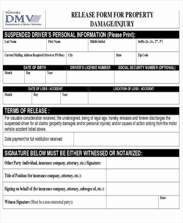 Personal Property Release form Template New Sample Property Damage Release form 9 Examples In Word Pdf