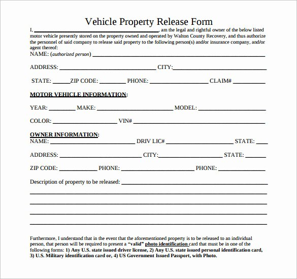 Personal Property Release form Template Unique Sample Property Release form 14 Download Free Documents