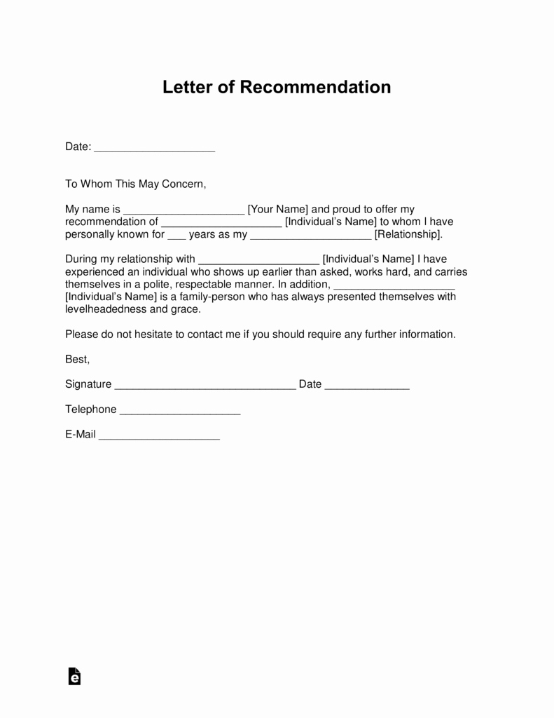 Personal Recommendation Letter Template Awesome Free Personal Letter Of Re Mendation Template for A