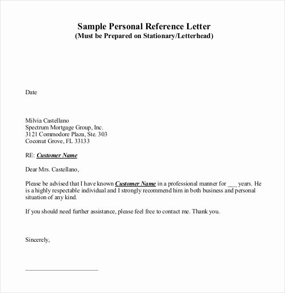 Personal Recommendation Letter Template Elegant 42 Reference Letter Templates Pdf Doc