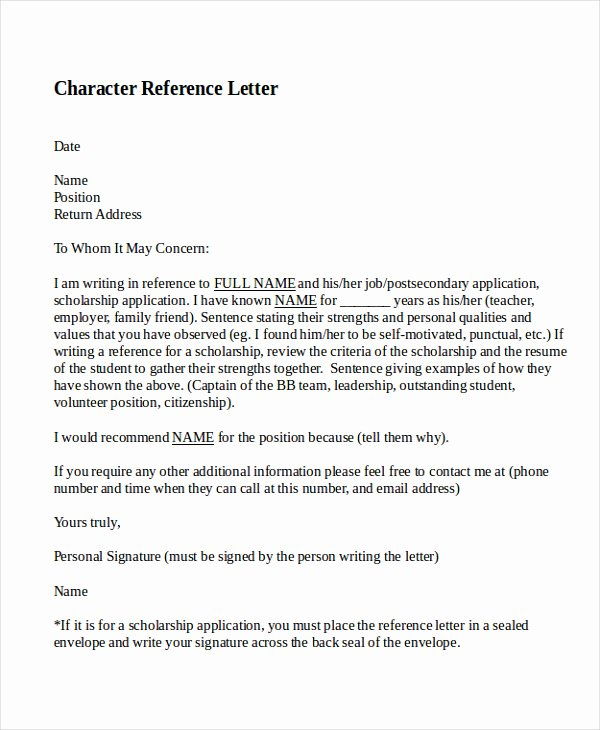 Personal Recommendation Letter Template Fresh 10 Best Personal Character Reference Letter How to