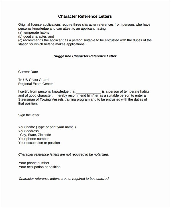 Personal Recommendation Letter Template Fresh 9 Character Reference Letter Samples Examples Templates