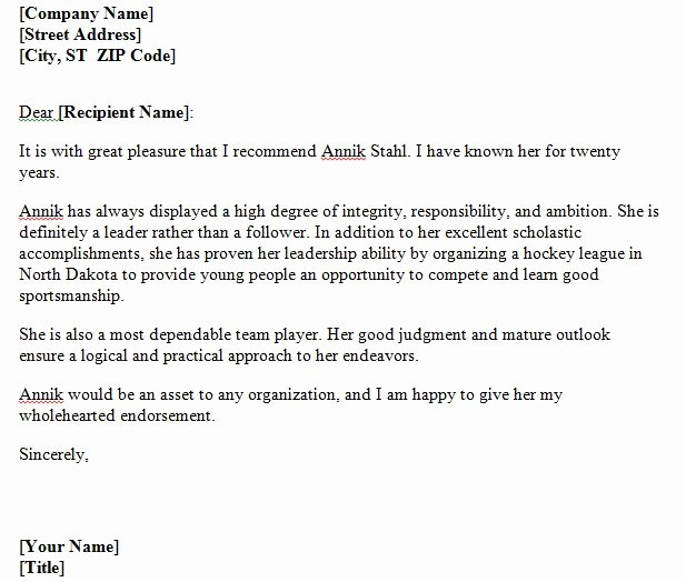 Personal Reference Letter Template Inspirational 40 Awesome Personal Character Reference Letter