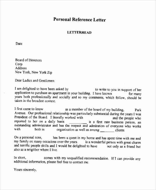 Personal Reference Letter Template Inspirational Sample Personal Reference Letter 7 Examples In Word Pdf