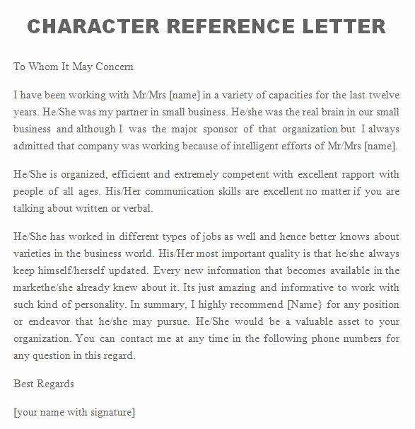 Personal Reference Letter Template Luxury Free Personal Character Reference Letter Templates Doc