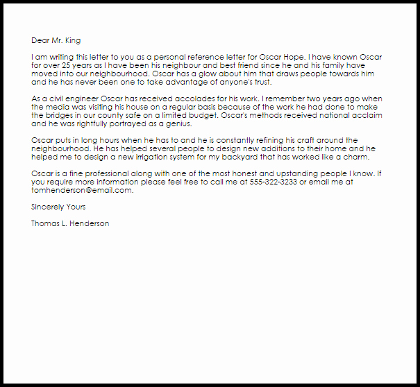 Personal Reference Letter Template Luxury Personal Reference Letter Reference Letters