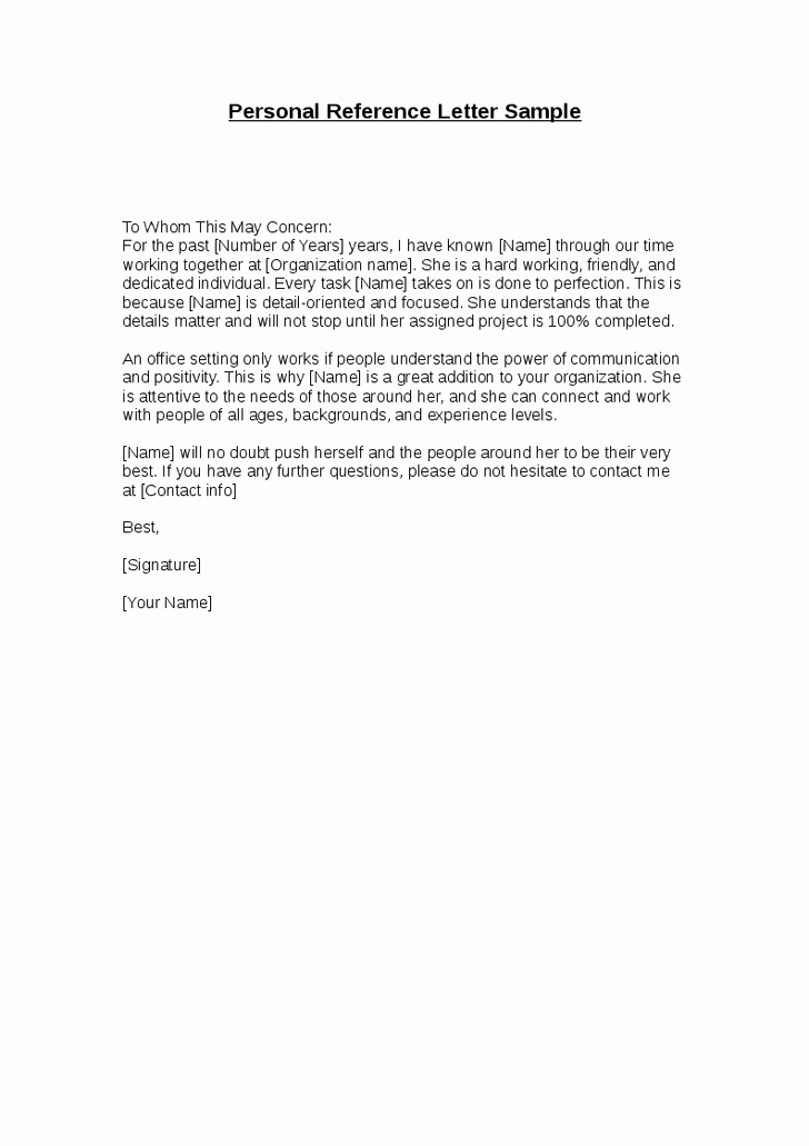 Personal Reference Letter Template Word Best Of Best S Of Personal Reference Letter Template Sample