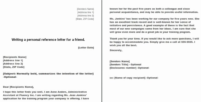 Personal Reference Letter Template Word Inspirational Free Personal Character Reference Letter Templates Doc