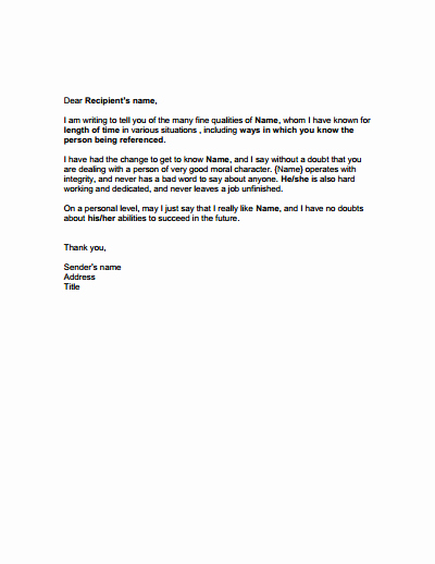 Personal Reference Letter Template Word Luxury Character Reference Template Download Create Edit Fill
