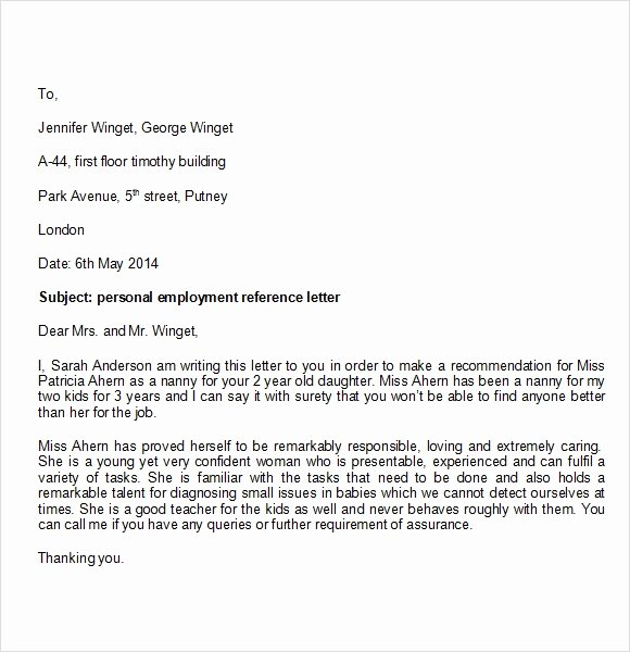 Personal Reference Letter Template Word Unique Personal Reference Letter Template 7 Download Documents