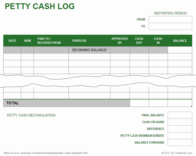Petty Cash Log Template Beautiful Microsoft Excel Templates Petty Cash Excel Template