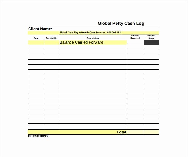 Petty Cash Log Template Best Of Sample Petty Cash Log Template 9 Free Documents In Pdf