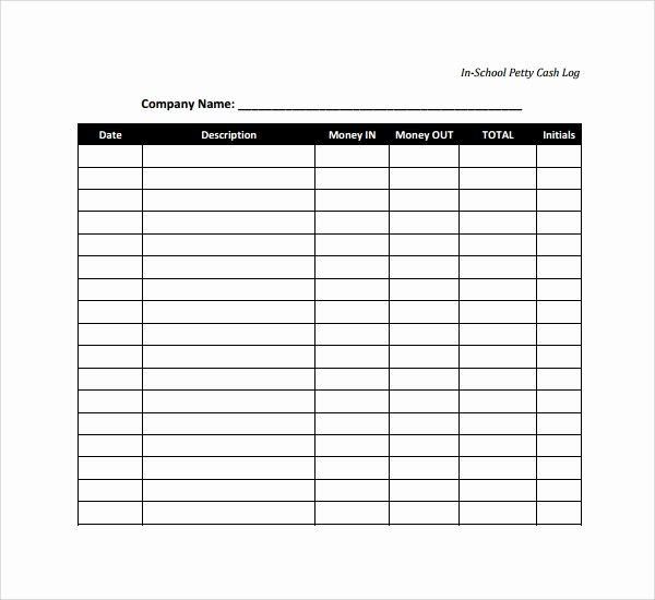 Petty Cash Log Template Unique Sample Petty Cash Log Template 8 Free Documents In Pdf