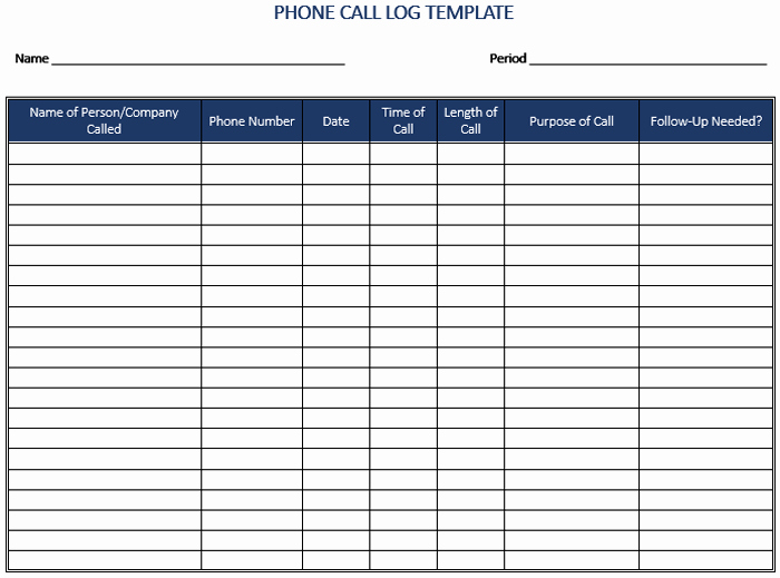 Phone Call Log Template Awesome 5 Call Log Templates to Keep Track Your Calls