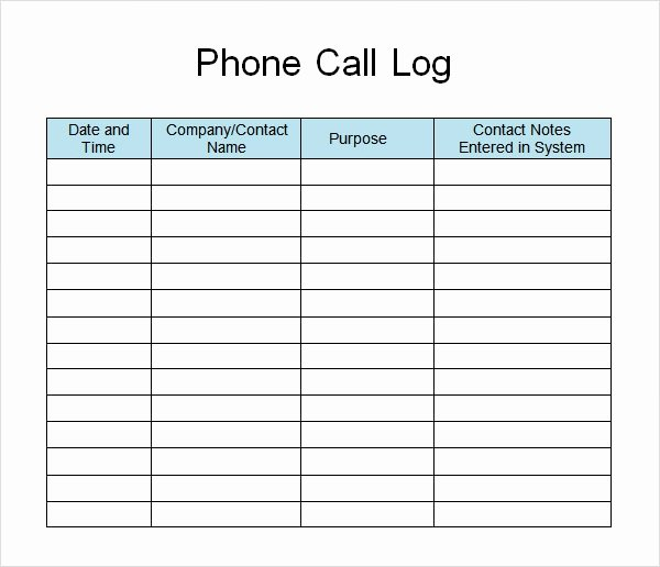 Phone Call Log Template Elegant Free 11 Sample Call Log Templates In Pdf Word