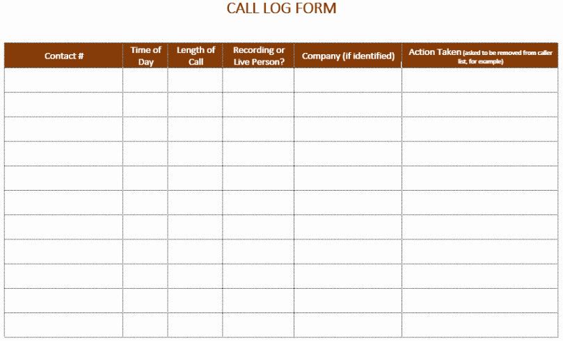 Phone Call Log Template Luxury Printable Call Log Templates In Excel Excel Template