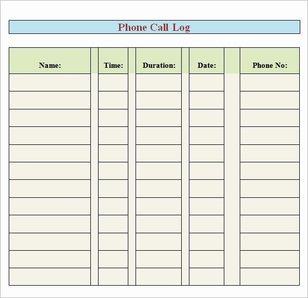 Phone Call Log Template Unique Free 5 Sample Printable Phone Log Templates In Pdf