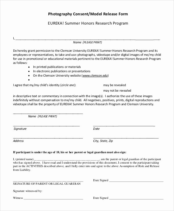 Photo Consent form Template Beautiful Sample Graphy Release form 10 Examples In Pdf Word